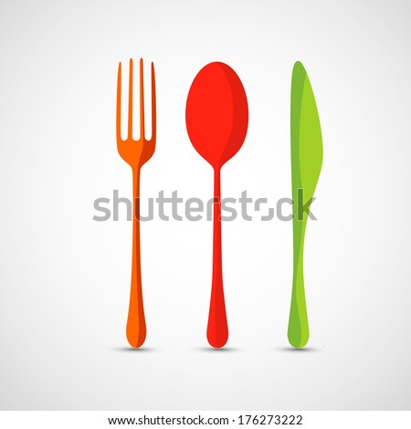 Fork,spoon and knife - stock vector