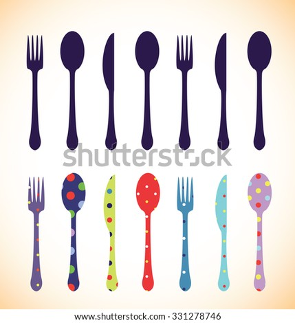 Fork,spoon and knife,colourful set - stock vector