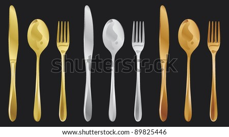 fork, spoon and knife - gold silver bronze - stock vector