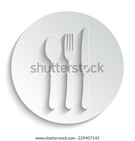 fork spoon knife  - vector icon with shadow on a round button - stock vector