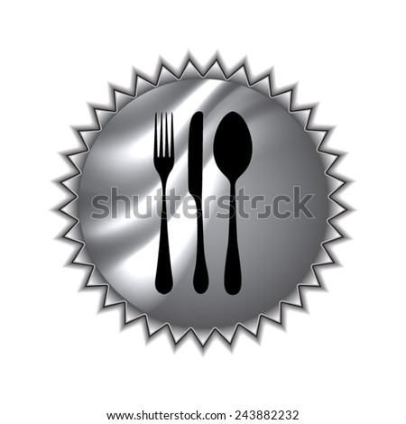 fork spoon knife with round sticker