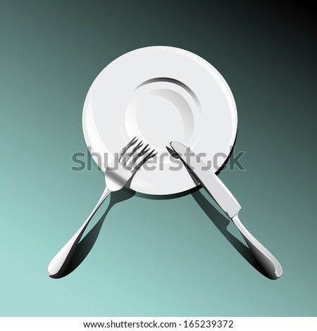 fork with a knife on a plate obliquely - stock vector