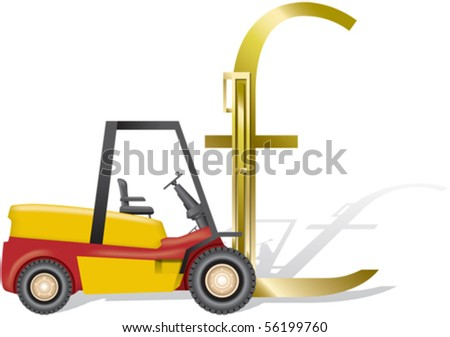 Forklift and pound sign - stock vector