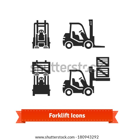 Forklift icons set. - stock vector