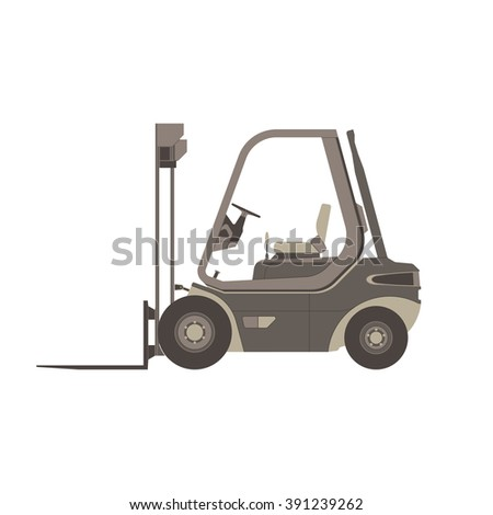 Forklift monochrome flat icon in gray color theme illustration object - stock vector