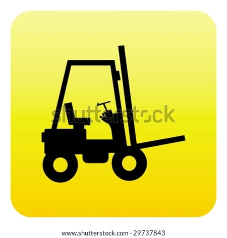 Forklift truck web button - stock vector