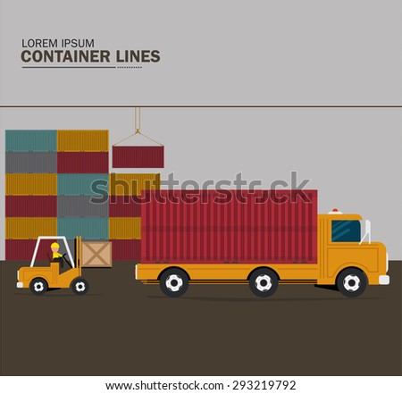 Forklift truck with containers - stock vector
