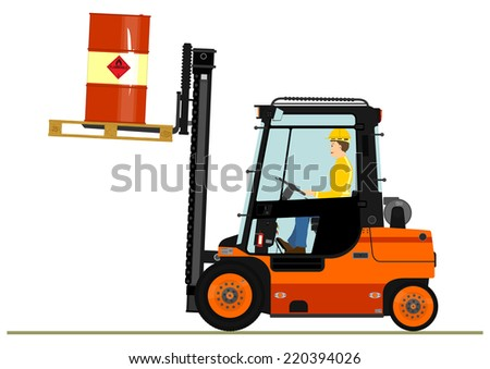 Forklift with a pallet of barrels. Vector without gradients on one layer.  - stock vector