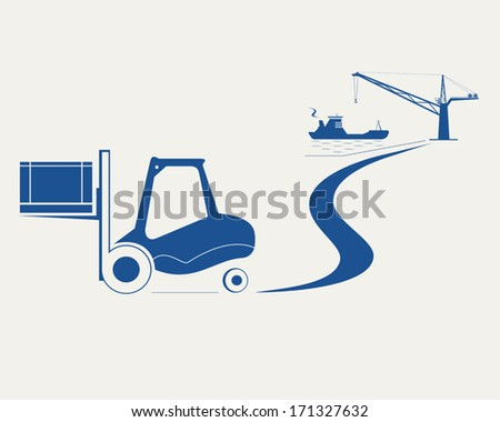 Forklift with box moving at from harbor unloading cargo ship - stock vector