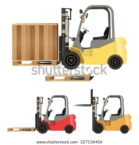 Forklift with Crate and Pallet - stock vector