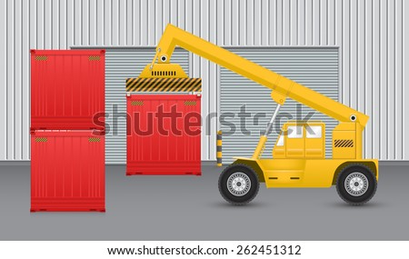 Forklift working with cargo container with factory background. - stock vector