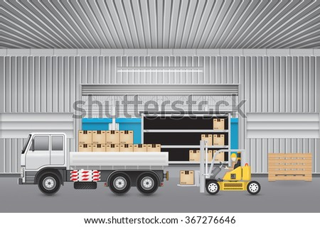 Forklift working with carton and truck outside factory. - stock vector