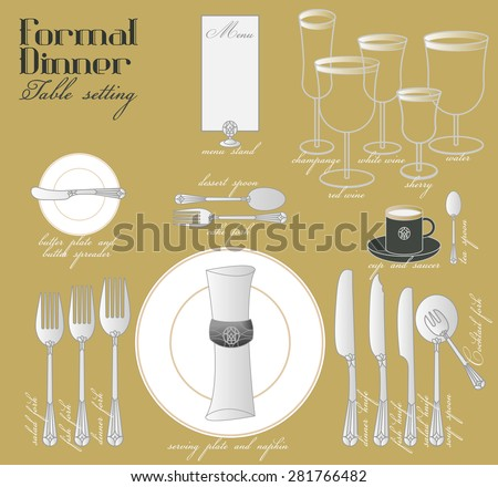 FORMAL DINNER TABLE SETTING Formal dining with elegant table decoration in glamour style are arrange for full course dinner. - stock vector