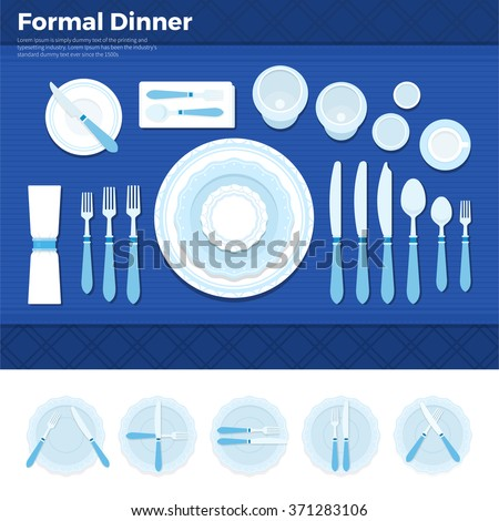 Formal dinner vector flat illustrations. Table served with utensils for formal dinner, plate with forks, spoons and knives on blue cloth. Formal eating concept. Plates with knives isolated on white - stock vector