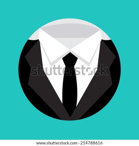 formal elegant suit shape flat design icon - stock vector