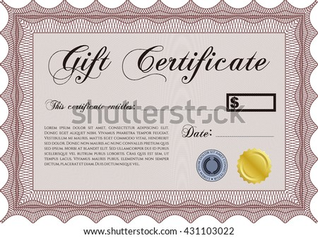 Formal Gift Certificate. Border, frame. With quality background. Superior design.  - stock vector