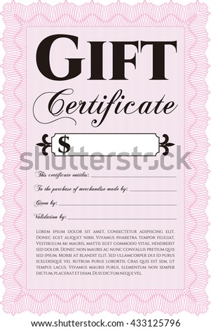 Formal Gift Certificate. Customizable, Easy to edit and change colors. Complex background. Lovely design.  - stock vector