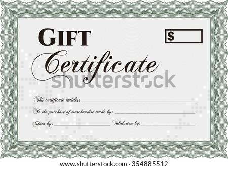 Formal Gift Certificate template. Printer friendly. Cordial design. Border, frame. - stock vector