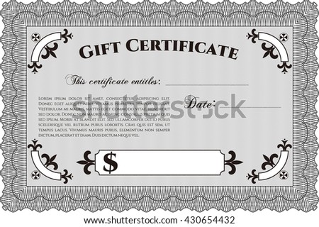 Retro gift certificate template vector illustration stock vector formal gift certificate template vector illustration elegant design with guilloche pattern yelopaper Choice Image