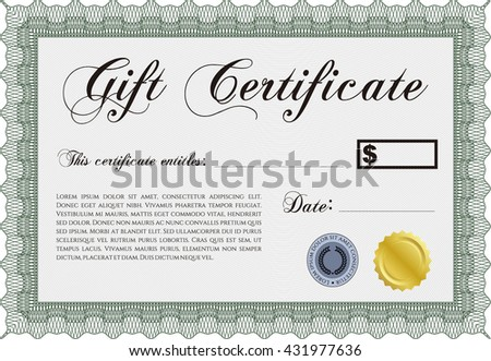 Gift certificate template good design vector stock vector formal gift certificate template vector illustration with guilloche pattern elegant design yelopaper Choice Image