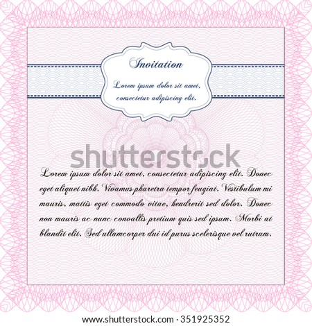 Formal invitation template border frame with guilloche stock vector formal invitation template border framewith guilloche pattern and background excellent complex stopboris Choice Image