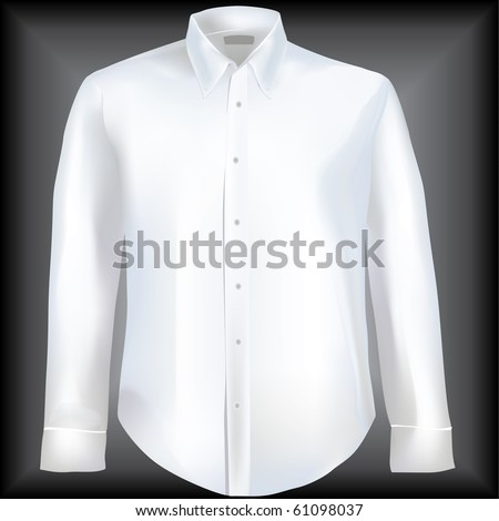 Formal shirt with button down collar  and long sleeves - stock vector
