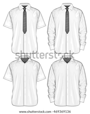Formal shirts (button-down collar) with and without neckties. Vector illustration.