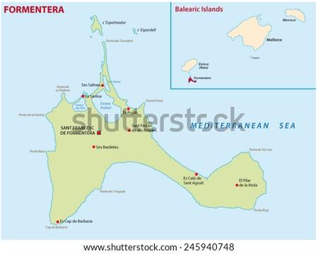 Formentera Map Stock Vector 245940748 Shutterstock