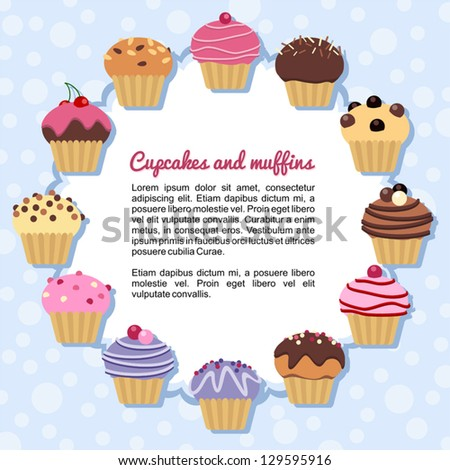 Forming a frame Cupcakes - stock vector
