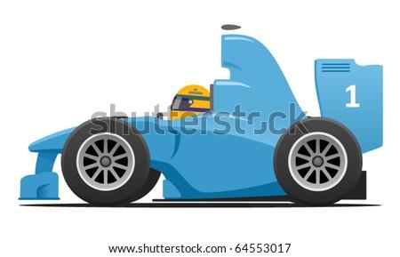 Formula 1 Blue Racecar - stock vector