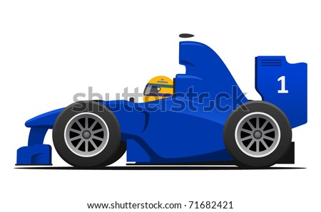Formula 1 Blue Racecar vector illustration - stock vector