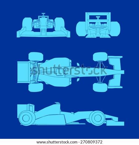 formula car design - stock vector