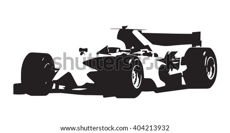 Formula car, vector isolated illustration, sketch, abstract racing car silhouette - stock vector