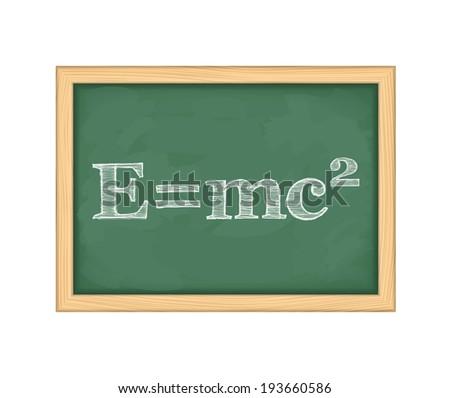 Formula of energy on blackboard, vector eps10 illustration - stock vector
