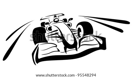 formula one sketch in black lines - stock vector