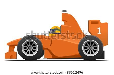 Formula 1 Race Car Cartoon - stock vector