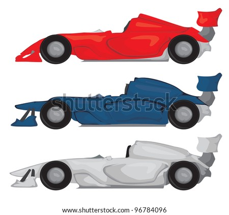 Formula race car set - stock vector