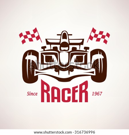 formula racing car emblem, race bolide symbol - stock vector