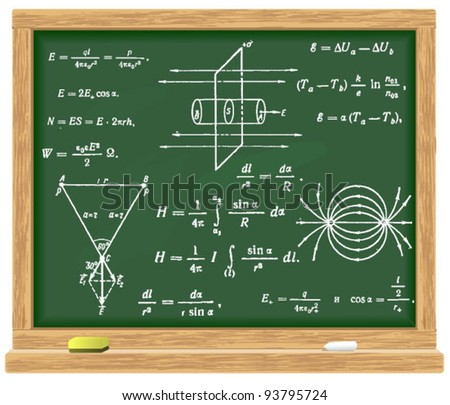 formulas of physics written in chalk on the blackboard - stock vector