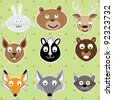 Forrest Animals - set of animals illustrations, vector EPS10 - stock vector