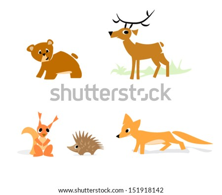 forrest animals set, simple minimal style, simplified shapes for kids, vector - stock vector
