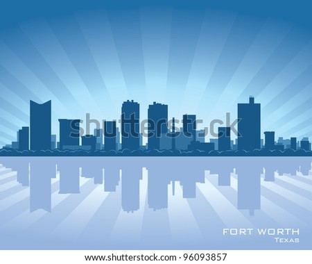 Fort Worth skyline illustration with reflection in water - stock vector