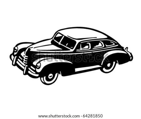 Forties Car - Retro Clipart Illustration - stock vector
