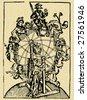 fortunae rota, astrology globe machine, vintage vector - ink drawing - stock vector