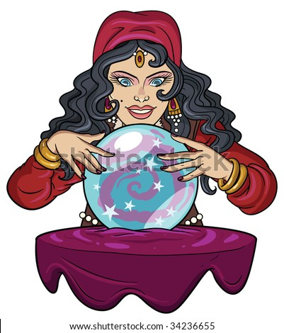 Fortune teller watching crystal ball. - stock vector