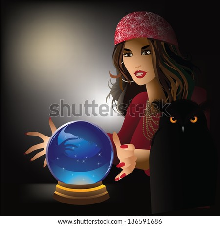 Fortune teller with pet owl. EPS 10 vector, grouped for easy editing. No open shapes or paths.