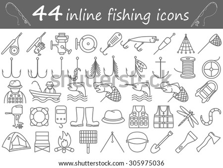 Forty four inline fishing and camping icons - stock vector
