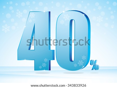 Forty percent on snow background  - stock vector