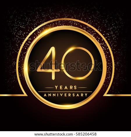 Forty Years Birthday Celebration Logotype 40th Stock Vector Royalty
