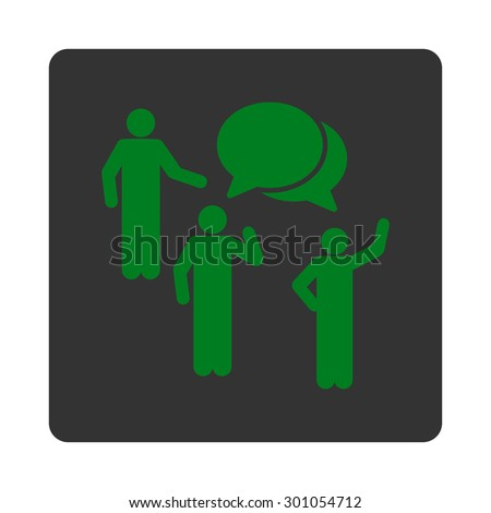 Forum icon. This flat rounded square button uses green and gray colors and isolated on a white background. - stock vector